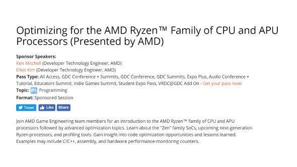 AMD GDC Ryzen 2 session