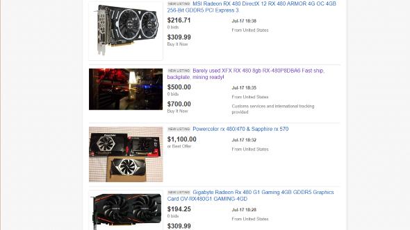 AMD RX 480 Ebay listings