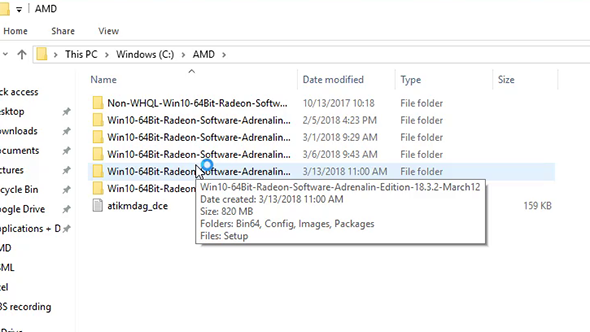 AMD driver folders