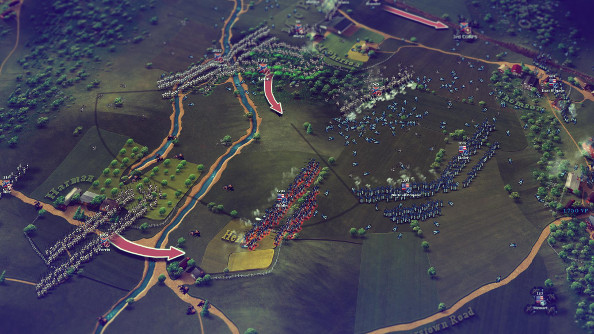 The Union line is hit from the left side by a hooking motion drawn from a line of gray soldiers.