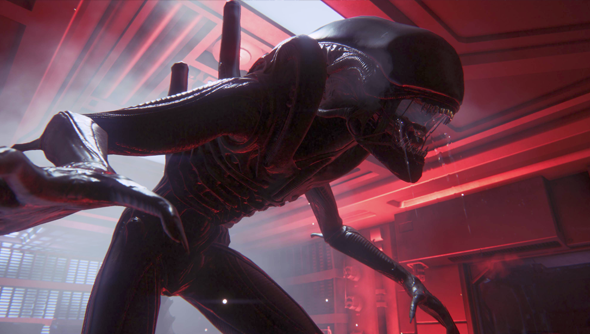 The alien hangs out in a blood red hallways. Foreshadowing things.