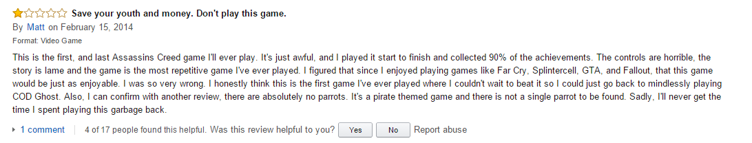 User reviews Assassin's Creed Black Flag