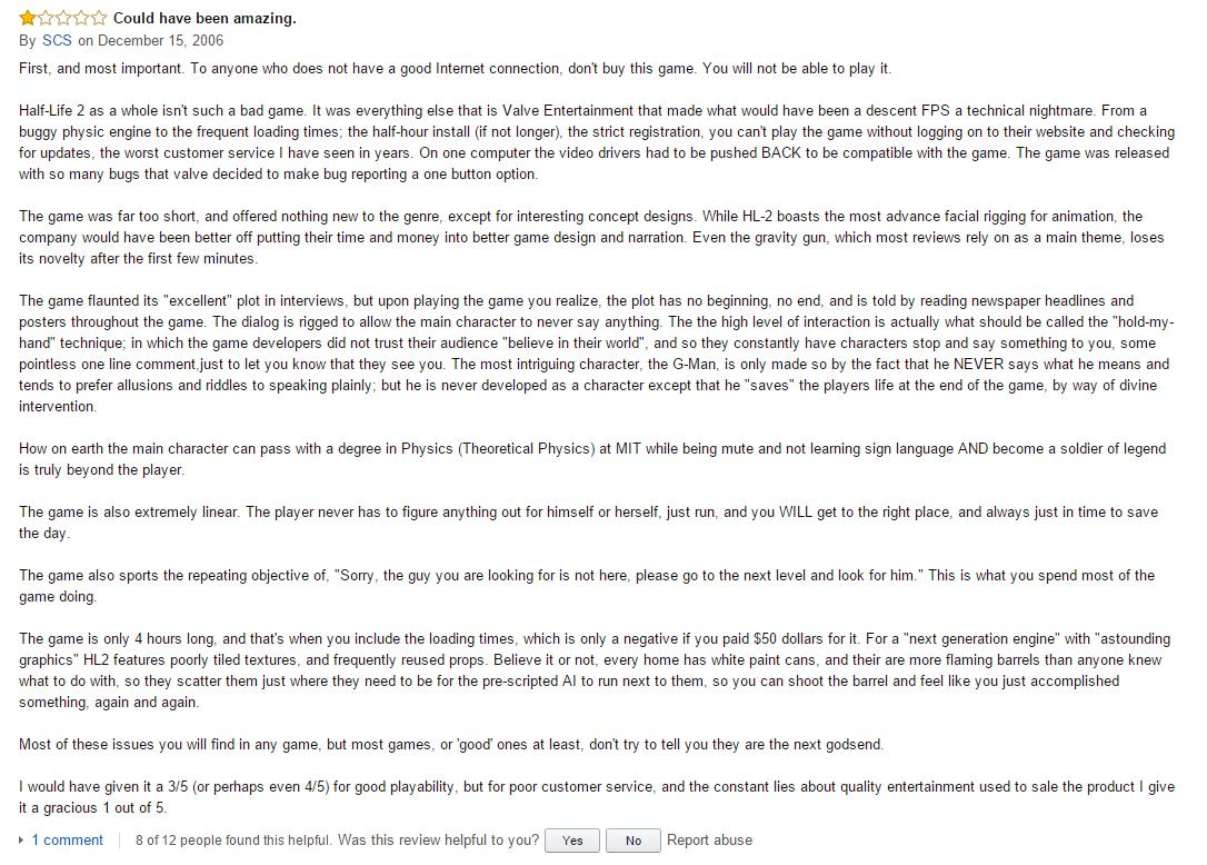 User reviews Half-Life 2