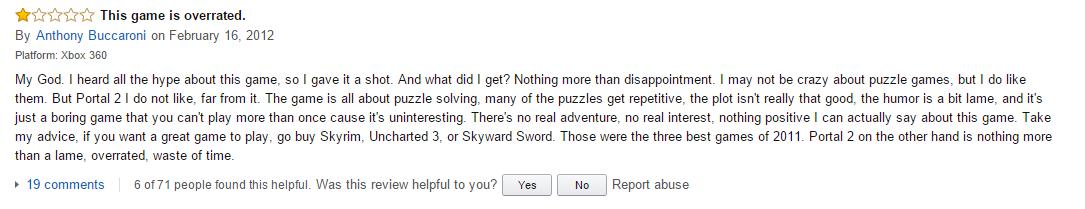 User reviews Portal 2