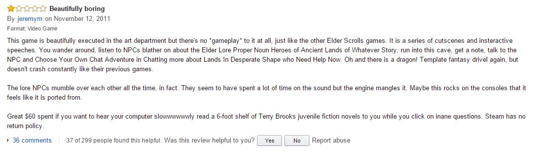 User reviews Skyrim