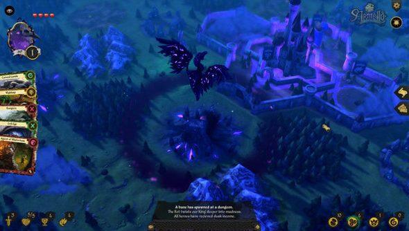 A dragon flies over a hex grid