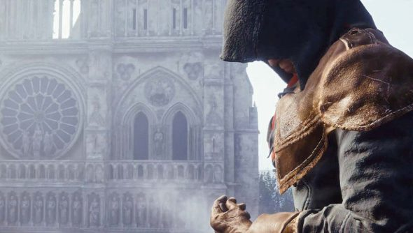 A male assassin broods next to the Notre Dame cathedral.