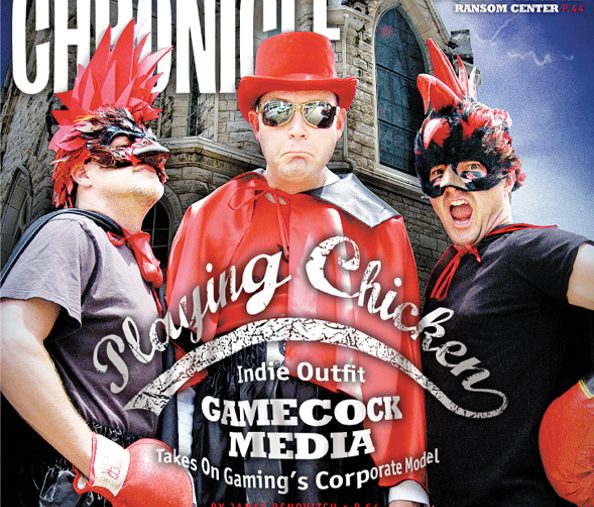 The Austin Chronicle cover showing Wilson, Stults, and Miller together wearing outlandish red and black Gamecock outfits.