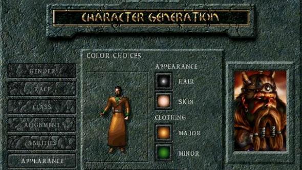 RPG character creator Baldur's Gate
