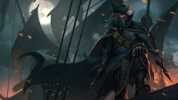 A burly priate Batman, with flowing dark locks and giant Hessian boots, stands at the prow of a ship in the moonlight.