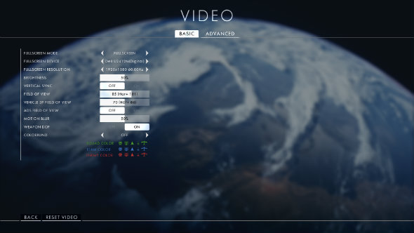 Battlefield 1 basic video settings