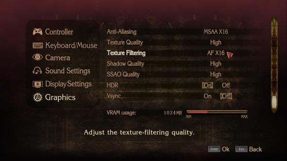 Bayonetta PC graphics menu