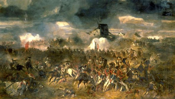 A colorful painting of the Battle of Waterloo
