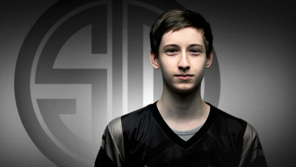 Young Soren Bjerg, a teenager with pale skin and red brown hair, stands against a gray background with a TSM logo behind him.