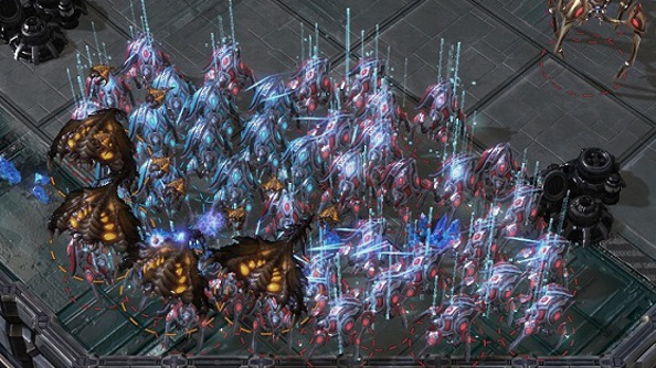 A group of spider-like Protoss Stalkers warp into existence beneath flying Brood Lords.