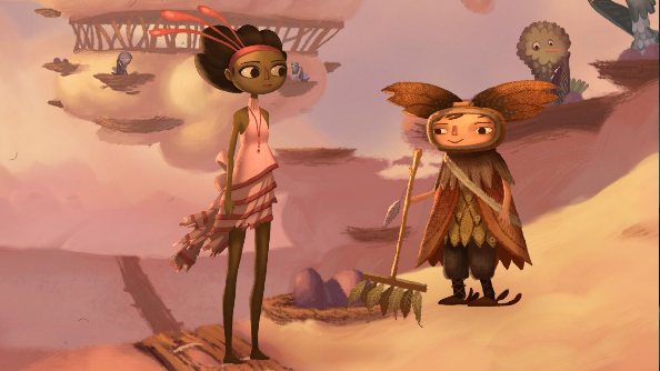 Broken Age Vella in the clouds
