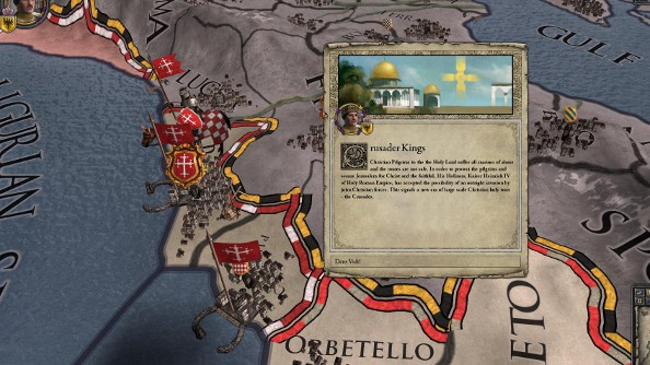 A crusade event card in Crusader Kings 2