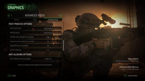 Call of Duty Modern Warfare Remastered graphics menu
