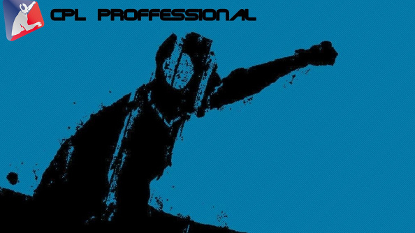 The blue and black CPL logo of a grainy black-figure gamer pumping his fist against the blue field.