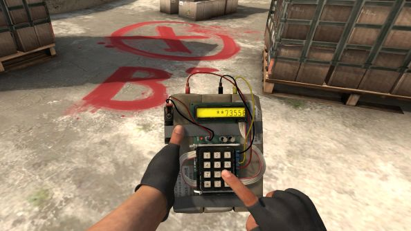 A time bomb being planted in Counter-Strike Global Offensive.