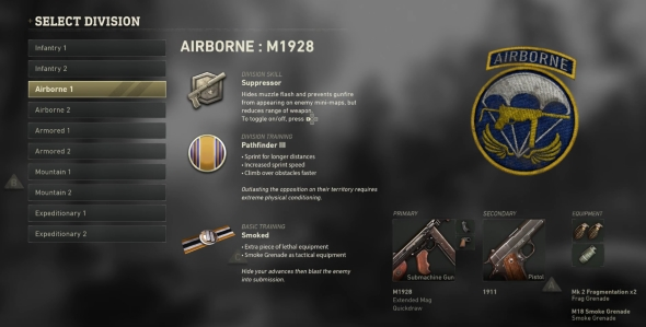 Call of Duty: WWII Divisions classes Airborne