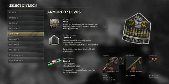 Call of Duty: WWII Divisions classes Armored
