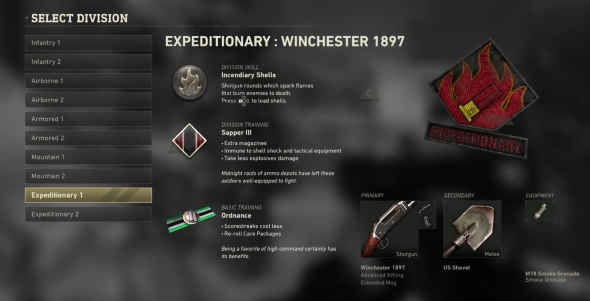 Call of Duty: WWII Divisions classes Expeditionary