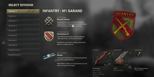 Call of Duty: WWII Divisions classes Infantry