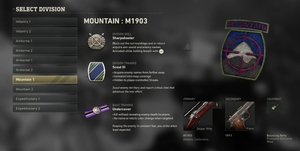 Call of Duty: WWII Divisions classes Mountain