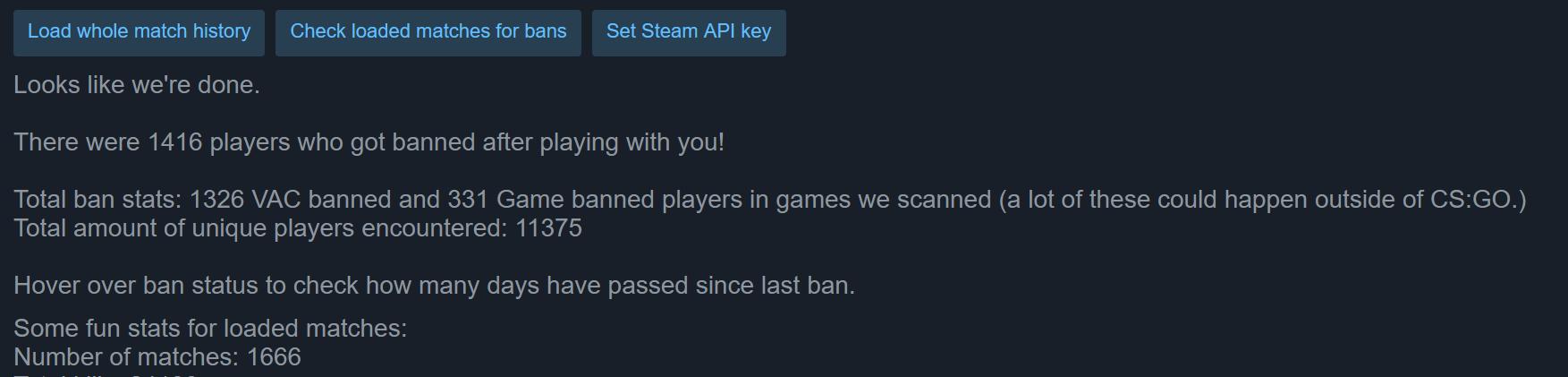Steam data showing bans