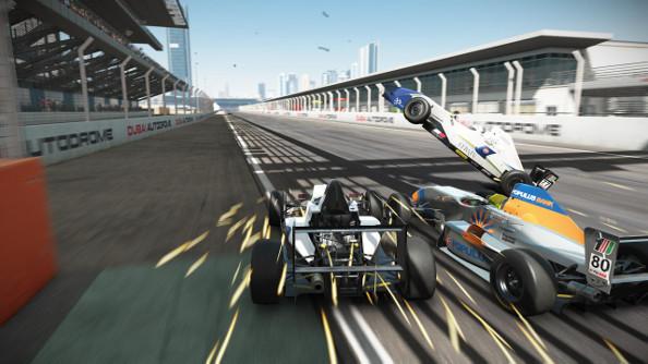 Car wreck among open wheel racers