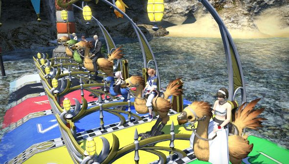 A line of Final Fantasy players at the chocobo racing starting line.