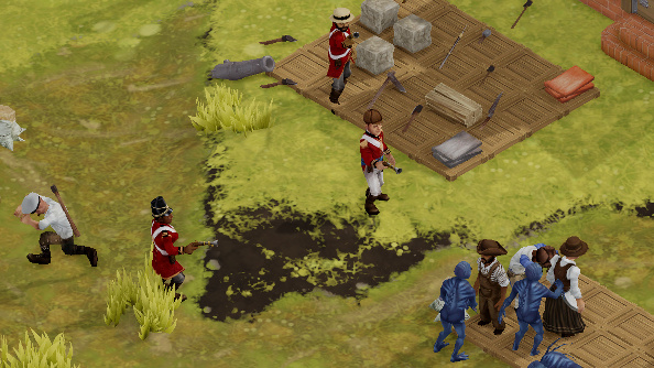 Redcoats fight fish-men in the streets of a small, primitive settlement.