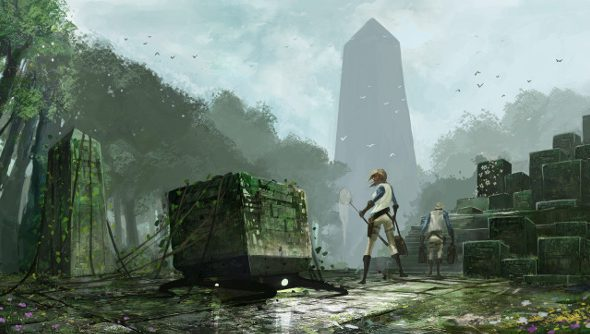 A woman in explorer's clothes stands beneath a menacing obelisk in the distance, surrounded by primitive stone cult structures.