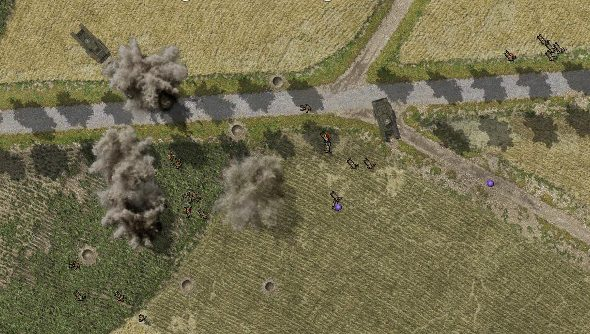 British tanks come under heavy fire crossing a French causeway.