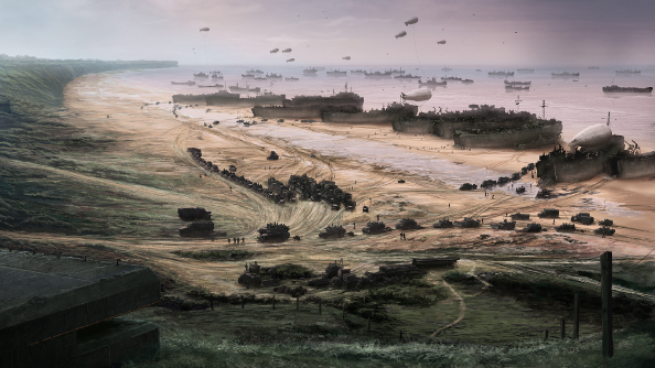 A panorama of the D-Day landings from the bluffs above Omaha. Landing ships stand on the shore as lines of men and equipment head inland.