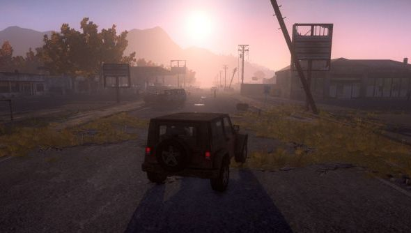 A rising sun over a Humvee in zombie game H1Z1.