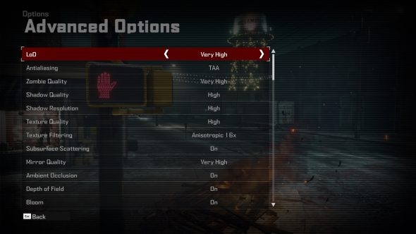 Dead Rising 4 PC graphics menu