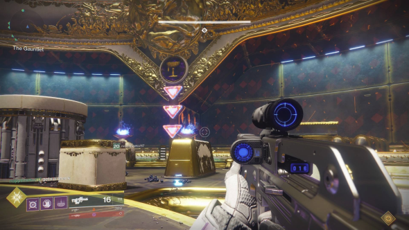 The tunnel in Destiny 2's gauntlet, viewed from inside the arena. Note, and shoot, the triangles.