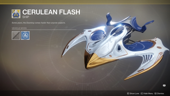 Destiny 2 The Dawning Cerulean Flash ship