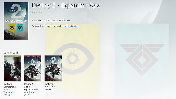 Destiny 2's expansion pass listing