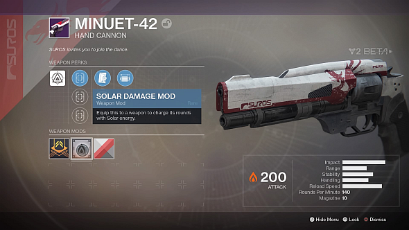 A Legendary energy weapon - the Solar mod is between the Infusion button and weapon shader