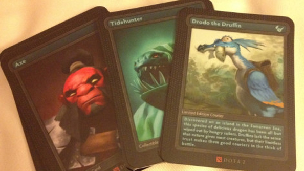 Cyborgmatt smuggles pictures out of Valve HQ of Dota 2 Trading Cards, Axe Action Figure