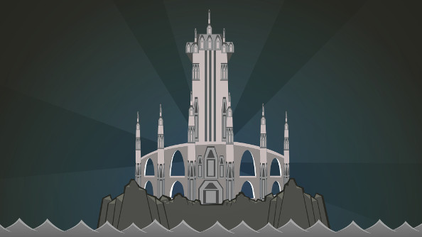 A gray mage tower in a simple cartoon style.