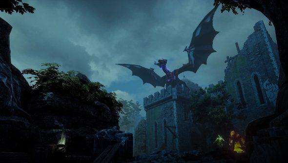 A dragon perches atop a castle.