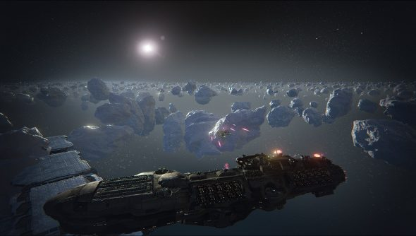 A massive starship stands guard over an asteroid field.