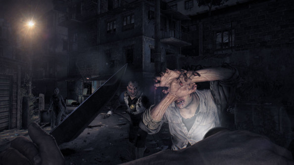 Infected humans recoil and cover their eyes from a player's flashlight as he a brandishes a knife in the darkness.