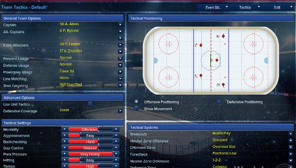 The game strategy page in Eastside Hockey Manager