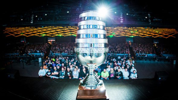 The ESL One trophy at Madison Square Garden
