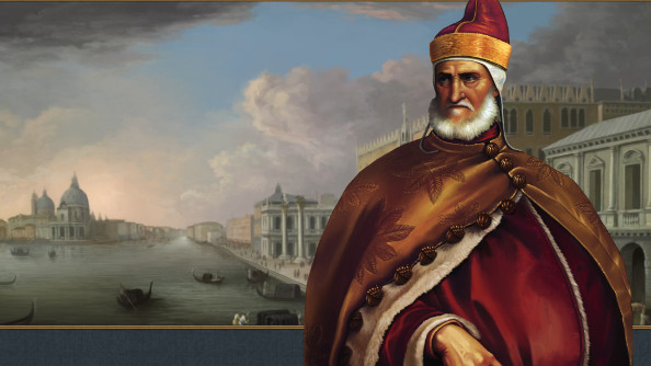 A prosperous looking renaissance trader stands against a the skyline of a rich city wearing red robes.